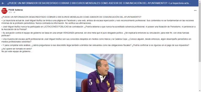 La APJ solicita una disculpa pública al PSOE de Salteras por los insultos vertidos a José Miguel Muñoz